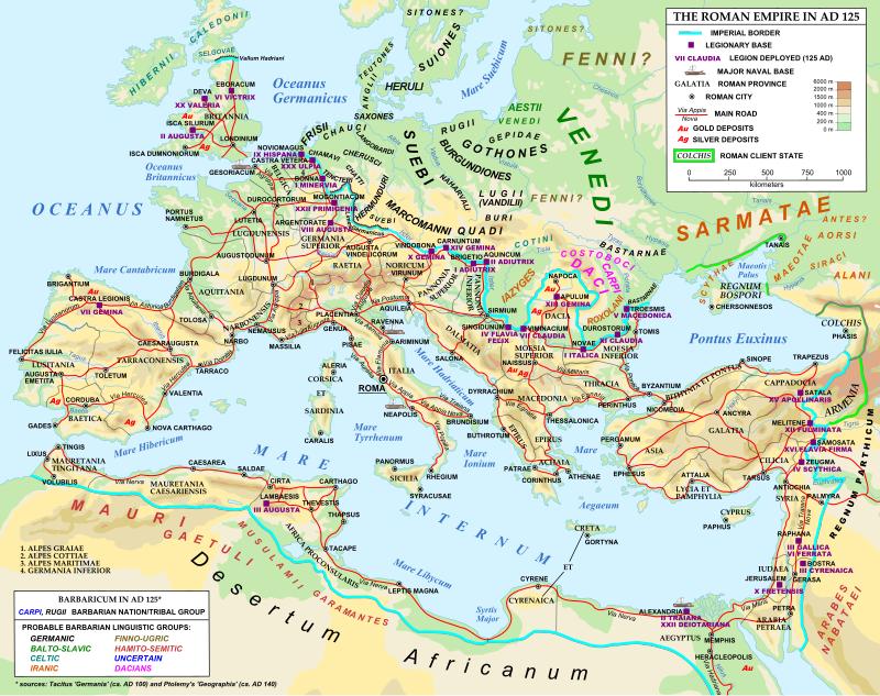 Cestná sieť v Rímskej ríši - ilustrácia
